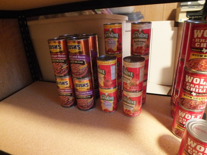 Yeah, I know the Chef Boyardee stuff is frowned upon by some preppers, but I have a 14 year old son who is home for the summer.  This probably won't last the week.